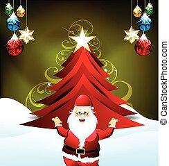 sant, fa, karácsony, háttér