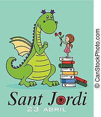 Sant Jordi. Catalonia traditional celebration. girl delivers...