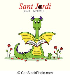 Sant Jordi. Dragon reading a book surrounded by roses.