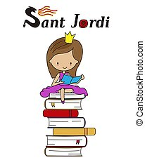 Sant Jordi traditional festival of Catalonia Spain. Princess reading on top of a pile of books. isolated vector