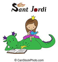 Sant Jordi traditional festival of Catalonia Spain. Princess reading sitting on top of a dragon