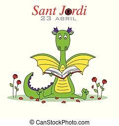 sant, omringde, draak, boek, roses., lezende , jordi.