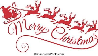 santa, ∥で∥, 彼の, sleigh, そして, reindeers