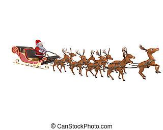 santa, ∥で∥, 彼の, sleigh