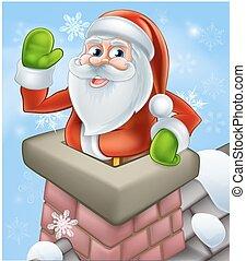 santa, クリスマス, 煙突, 現場