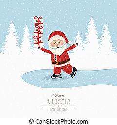 santa, スケート, 上に, 氷, バランス, 贈り物, 冬, 背景