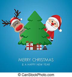 santa, トナカイ, claus, クリスマスの ギフト
