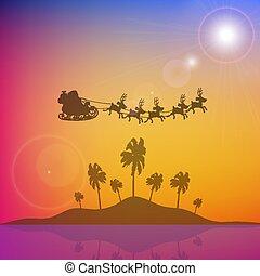santa, 上に, 島, claus, 木, やし, 飛行