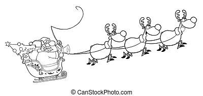 santa, 中に, 彼の, sleigh, 飛行