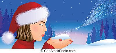 santa, 女の子, クリスマス, 背景
