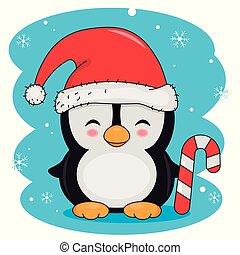santa, 微笑, ペンギン, 帽子, キャンデー