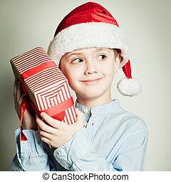 santa, 贈り物, 保有物, 子供, 帽子, クリスマス