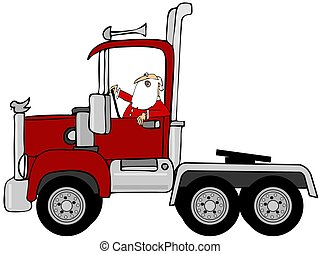 santa, 運転, a, 赤, 半 トラック