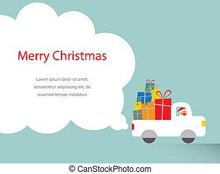 santa, 運転, a, trank, フルである, の, プレゼント