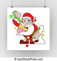 santa, 酔った, claus, -, ベクトル, ダンス, 保有物, bottle., 飲むこと, シャンペン, 漫画