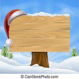 santa, 雪, クリスマス, 風景, 帽子