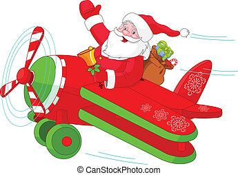 santa, 飛行, 彼の, クリスマス, 飛行機
