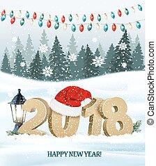 santa, 2018, fond, hat., vacances, noël, rouges, vector.