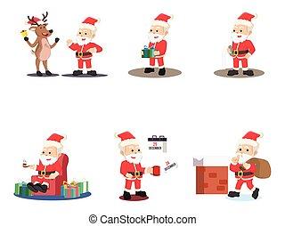 santa 4 cartoon set