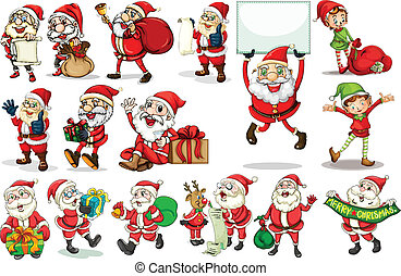 Santa actions - Illustration of different actions of santa