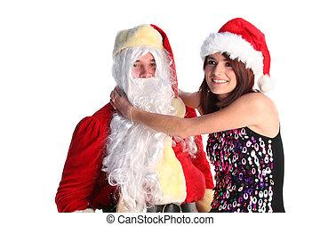 Santa and a girl