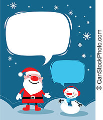 Santa and a snowman Christmas card