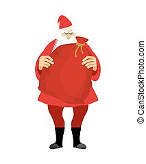 Santa and bag with gifts isolated. Big red sack. Gifts for Christmas and new year. Xmas template design