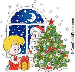 Santa and Boy with Christmas gift