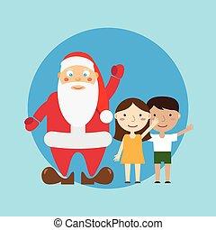 Santa and children. Vector.