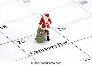 Santa and Christmas day calendar concept