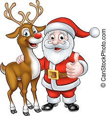 Santa and Christmas Reindeer - A Santa and his Christmas...