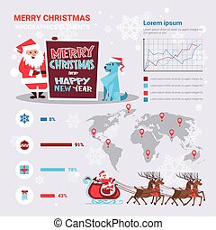 Santa And Dog Holding Meery Christmas And Happy New Year Banner Over Infographics Set Decoration