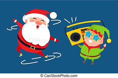 Santa and Elf Cartoon Characters Listen to Music