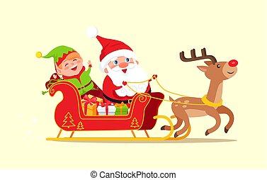 Santa and Elf Cartoon Characters Riding on Sleigh