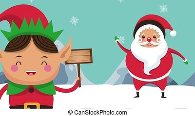 Santa and elf cartoons HD animation - Santa and elf with...