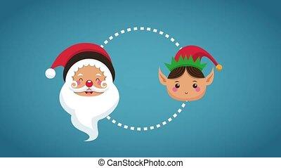 Santa and elf christmas cartoons HD animation - Santa and...
