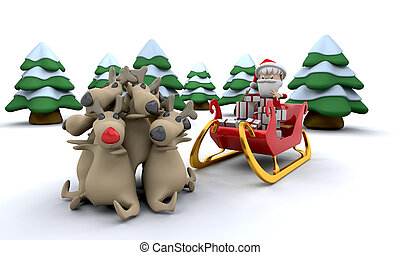 santa and gifts - 3d render of santa claus and gifts