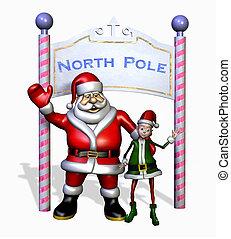 Santa and his Elf at the North Pole