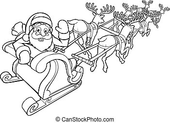 Santa and his Flying Sleigh and Reindeer