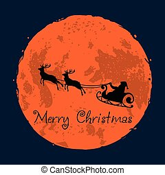 Santa and His Reindeer on Full Moon Background Christmas Greeting Card