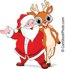 Santa and his reindeer Rudolf hugging