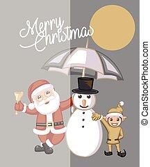 Santa and Kid Elf with Snowman