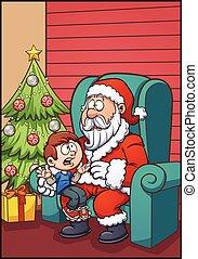 Santa and kid - Santa Claus sitting with kid. Vector clip...