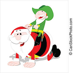 Santa and Kid Vector Illustration
