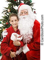 Santa and Little Boy on Christmas