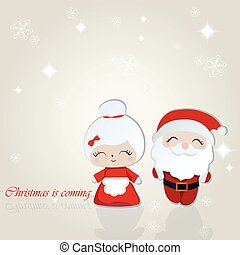 Santa and Misses Claus Merry Christmas background. Vector ...