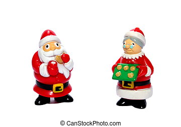 Santa and Mrs. Claus - Isolated Santa and Mrs. Claus serving...
