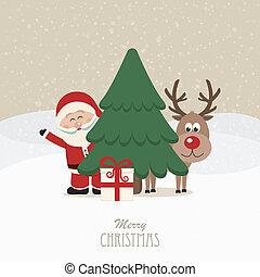 santa and reindeer behind christmas tree snowy background