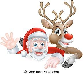 Santa and Reindeer Christmas Illustration