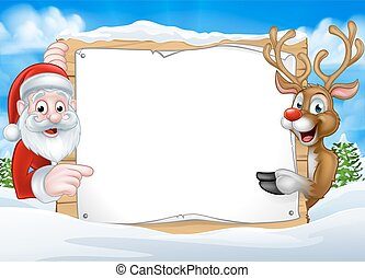 Santa and Reindeer Christmas Sign Background - A happy...
